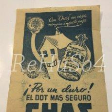 Catálogos publicitarios: FOLLETO INSECTICIDA CHAS DDT . LETRA CHOTIS. AÑOS 40. PUBLICIDAD. VINTAGE. RARO. ÚNICO.. Lote 155019202