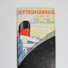 Catálogos publicitarios: PR-963. CATALOGO DE BARCO .SCYTHIA SAMARIA PLAN OF CABIN CLASS .CUNARD WHITE STAR.AÑO 1936. Lote 156175346