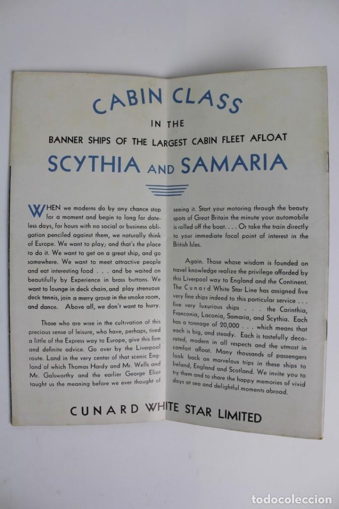 Catálogos publicitarios: PR-963. CATALOGO DE BARCO .SCYTHIA SAMARIA PLAN OF CABIN CLASS .CUNARD WHITE STAR.AÑO 1936 - Foto 2 - 156175346