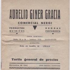 Catálogos publicitarios: TARIFA PRECIOS AURELIO GINER GRACIA, COMERCIAL NERGI, PRODUCTOS QUIMICOS, PERFUMERIA, 1944. Lote 156342546