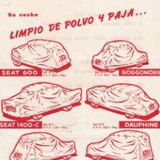 Catálogos publicitarios: HOJA PUBLICIDAD FUNDA MOTO BAG, ALEU Y REGAS, BARCELONA. Lote 156344142