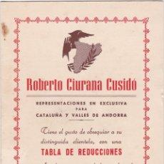 Catálogos publicitarios: TABLA DE REDUCCIONES ROBERTO CIURANA CUSIDO, BARCELONA. Lote 156344666