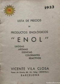 1932 Enol. Lista de precios de productos enológicos 15,6x21,5cm