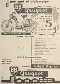 1961 Publicidad ciclomotor Geugeot 18x25 cm