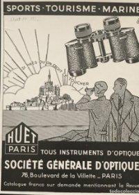 1932 Publicidad Huet Paris. Société Générale d'optique 18,2x25 cm