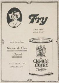Publicidad Fry. Queen Mary Chocolates 18,2x25 cm