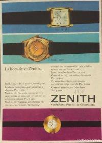 1960 Publicidad relojes Zenith 18,2x25 cm