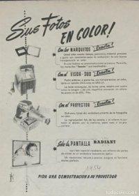 1954 Publicidad proyector Exacta, pantalla Radiant 18,2x25 cm