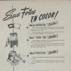 Catálogos publicitarios: 1954 PUBLICIDAD PROYECTOR EXACTA, PANTALLA RADIANT 18,2X25 CM. Lote 159308018