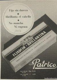 1954 Publicidad fijador brillantina Patrico 18,2x25 cm