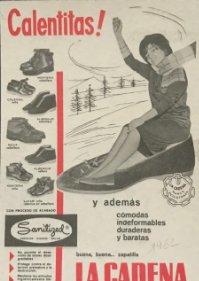 1962 Publicidad zapatillas La Cadena 18,2x25 cm