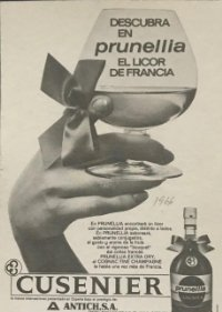 1966 Publicidad licor de Francia, Prunella 18,2x25 cm