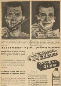 1959 Publicidad crema de afeitado Williams y Glider 18,2x25 cm