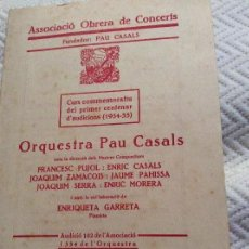 Catálogos publicitarios - Associacio Obrera de Concerts 1935 Pau Casals - 160624894