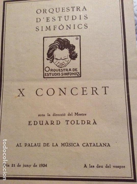 ORQUESTRA D' ESTUDIOS SINFÓNICS X CONCERTS EDUARD TOLDRA 1934 (Coleccionismo - Catálogos Publicitarios)