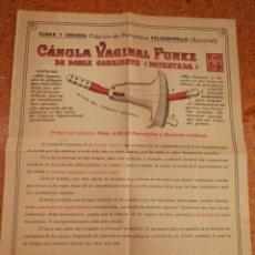 Catálogos publicitarios: ANTIGUA PUBLICIDAD CÁNULA VAGINAL FUNKE Y ORODEA (FABRICA PORCELANA VALDEMORILLO, ESCORIAL).RARO!!!.. Lote 162304633