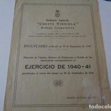 Catálogos publicitarios: CHESTE. VALENCIA. SINDICATO AGRÍCOLA. CHESTE AGRICOLA. BODEGA COOPERATIVA. 1940-1941. BOLETÍN. Lote 162469406