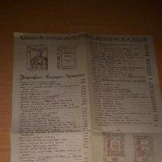 Catálogos publicitarios: EXTRACTO DE CATALOGO DE EDITORIAL JUVENTUD S.A. - 28X22 CM. - DETALLA TITULOS Y PRECIOS - 1943. Lote 162963374