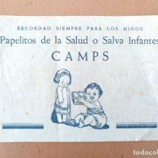 Catálogos publicitarios: PUBLICIDAD FARMACIA Y LABORATORIOS CAMPS BARCELONA 1956 PAPELITOS DE LA SALUD. Lote 163868938