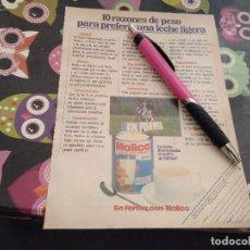 Catálogos publicitarios: ANTIGUO ANUNCIO PUBLICIDAD 1980 LECHE EN POLVO DESNATADA MOLICO NESTLE TRASERA CADENA MUSICA FISHER. Lote 164929218