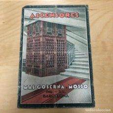 Catálogos publicitarios: ANTIGUO CATALOGO PUBLICITARIO, ASCENSORES MAS GOBERNA Y MOSSO, BARCELONA, MONTACARGAS.. Lote 165633106