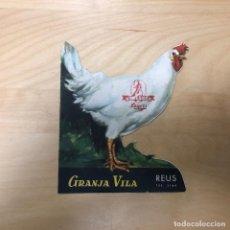 Catálogos publicitarios: ANTIGUO FOLLETO PUBLICITARIO, GRANJA VILA REUS, TROQUELADO FORMA DE GALLINA.. Lote 165638102