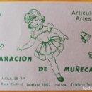 Catálogos publicitarios: TARJETA PUBLICIDAD REPARCIÓN DE MUÑECAS. PALMA MALLORCA. AÑOS 60. Lote 165781013