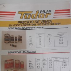 Catálogos publicitarios: TARIFAS PILAS TUDOR 1984. Lote 166021618