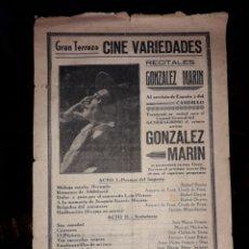 Catálogos publicitarios: PUBLICIDAD GRAN TERRAZA. CINE VARIEDADES. GONZÁLEZ MARÍN. ALMERÍA. Lote 166719456