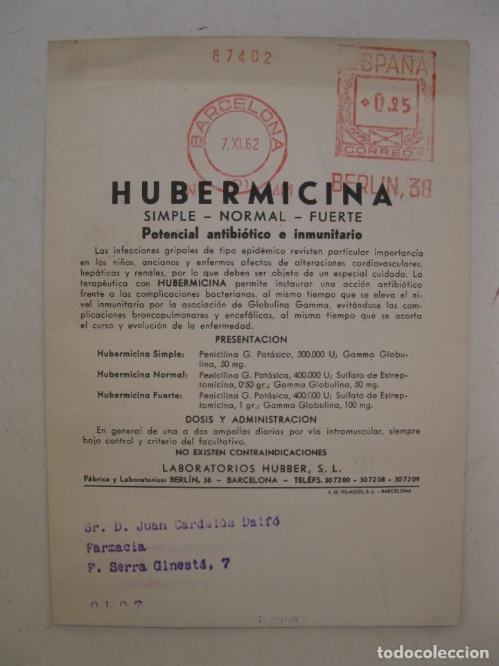 Catálogos publicitarios: FOLLETO PUBLICITARIO - HUBERMICINA - POTENCIAL ANTIBIÓTICO E INMUNITARIO - AÑO 1962. - Foto 2 - 168052316