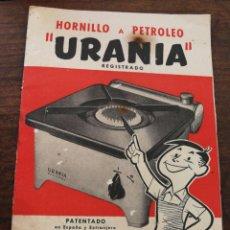 Catálogos publicitarios: INSTRUCCIONES HORNILLO A PETROLEO URANIA- INMOGAR (BARCELONA), 1956.. Lote 168060253