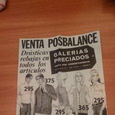 Catálogos publicitarios: VENTA POSBALANCE -- GALERIAS PRECIADOS VENTA POR CORRESPONDENCIA. Lote 168839088