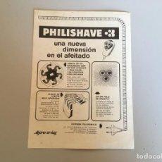 Catálogos publicitarios: FOLLETO PUBLICIDAD PHILISHAVE 3 UNA NUEVA DIMENSIÓN EN EL AFEITADO. Lote 169372432