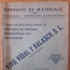 Catálogos publicitarios: DEPOSITO DE MATERIALES VIVO, VIDAL Y BALASCH .S.L. INGENIEROS. Lote 169718192