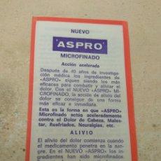 Catálogos publicitarios: PROSPECTO - PUBLICIDAD DE FARMACIA ASPRO MICROFINADO - FABRICADO NICHOLAS IBÉRICA S.A BARCELONA. Lote 170214758