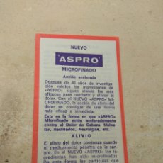 Catálogos publicitarios: PROSPECTO - PUBLICIDAD DE FARMACIA ASPRO MICROFINADO - FABRICADO NICHOLAS IBÉRICA S.A BARCELONA. Lote 170214973