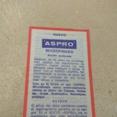 Catálogos publicitarios: PROSPECTO - PUBLICIDAD DE FARMACIA ASPRO MICROFINADO - FABRICADO NICHOLAS IBÉRICA S.A BARCELONA. Lote 170215048