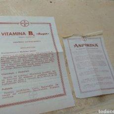 Catálogos publicitarios: ANTIGUOS PROSPECTOS MEDICAMENTOS ASPIRINA Y VITAMINA B DE BAYER. Lote 170216198
