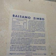 Catálogos publicitarios: ANTIGUO PROSPECTO PUBLICIDAD DE FARMACIA BÁLSAMO ZIMBO - LABORATORIO F. SELMA - VALENCIA -. Lote 170216444