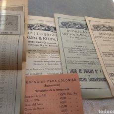 Catálogos publicitarios: LOTE CATÁLOGOS - LISTA DE PRECIOS Y MÁS DESTILERÍAS ADRIAN & KLEIN S.A BENICARLÓ - CASTELLÓN. Lote 170217641