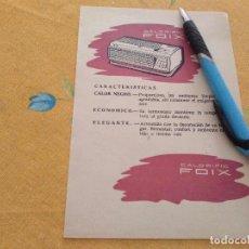 Catálogos publicitarios: ANTIGUO ANUNCIO PUBLICIDAD REVISTA CALENTADOR CALORFIC FOIX ESPECIAL PARA ENMARCAR. Lote 170337376