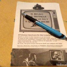 Catálogos publicitarios: ANTIGUO ANUNCIO PUBLICIDAD REVISTA TELEVISION TELEVISOR ZENITH AÑOS 60 ESPECIAL PARA ENMARCAR. Lote 170380080