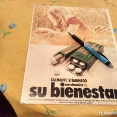 Catálogos publicitários: ANTIGUO ANUNCIO PUBLICIDAD REVISTA CALMANTE VITAMINADO CON VITAMINA B1 ESPECIAL PARA ENMARCAR. Lote 170423804