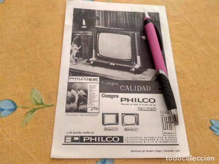 ANTIGUO DOBLE ANUNCIO PUBLICIDAD TELEVISOR UHF PHILCO REVERSO LANA VIRGEN ESPECIAL PARA ENMARCAR (Coleccionismo - Catálogos Publicitarios)