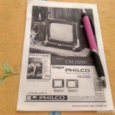Catálogos publicitarios: ANTIGUO DOBLE ANUNCIO PUBLICIDAD TELEVISOR UHF PHILCO REVERSO LANA VIRGEN ESPECIAL PARA ENMARCAR. Lote 170660245