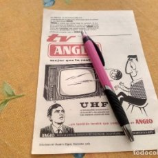 Catálogos publicitarios: ANTIGUO ANUNCIO PUBLICIDAD REVISTA TELEVISOR UHF ANGLO AÑOS 60 ESPECIAL PARA ENMARCAR. Lote 170685355