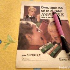 Catálogos publicitários: ANTIGUO ANUNCIO PUBLICIDAD REVISTA ASPIRINA Y ASPIRINA INFANTIL DE BAYER ESPECIAL PARA ENMARCAR. Lote 170858175