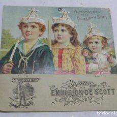 Catálogos publicitarios: ANTIGUO CALENDARIO, ALMANAQUE CON PUBLICIDAD DE LA EMULSION SCOTT AÑO 1895, MIDE 20 X 19 CMS, FARMAC. Lote 171011138