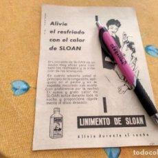 Catálogos publicitários: ANTIGUO DOBLE ANUNCIO PUBLICIDAD REVISTA LINIMENTO DE SLOAN TRASERA AGUA DE COLONIA CESAR IMPERATOR. Lote 171165189