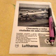 Catálogos publicitarios: ANTIGUO ANUNCIO PUBLICIDAD REVISTA COMPAÑIA AEREA LUFTHANSA ESPECIAL PARA ENMARCAR. Lote 171332469